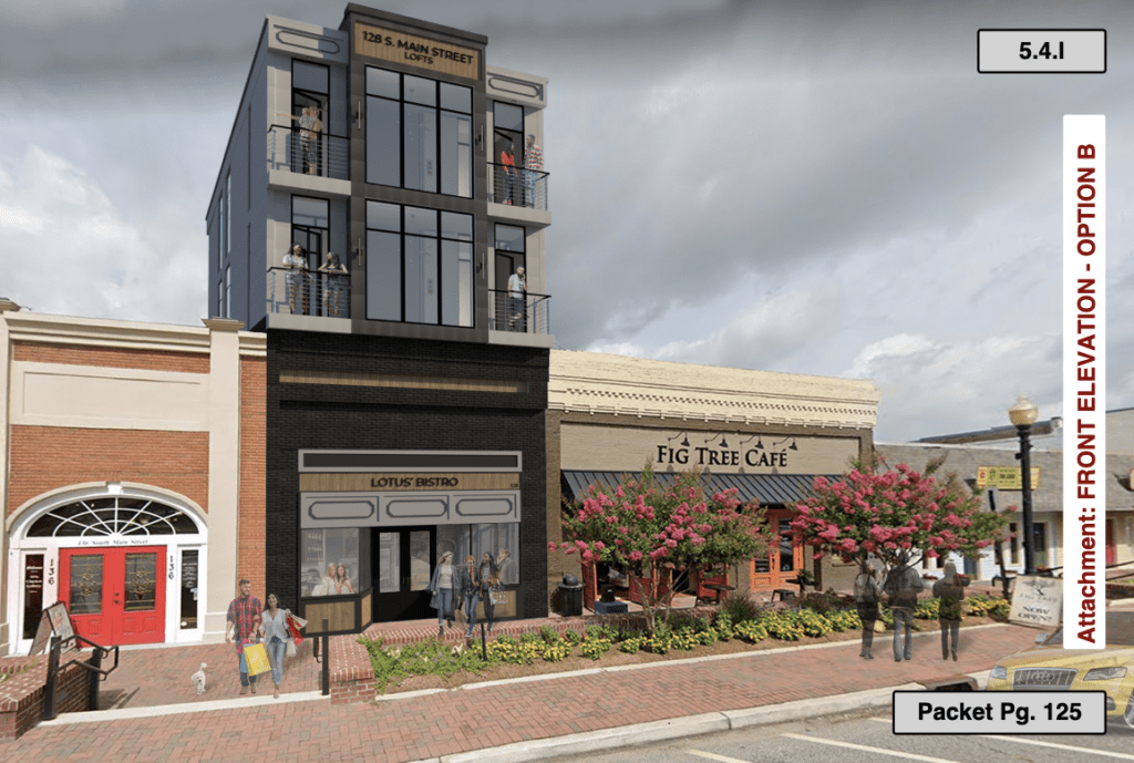 artist's rendering of modern high-rise apartments on top of historic street level storefront