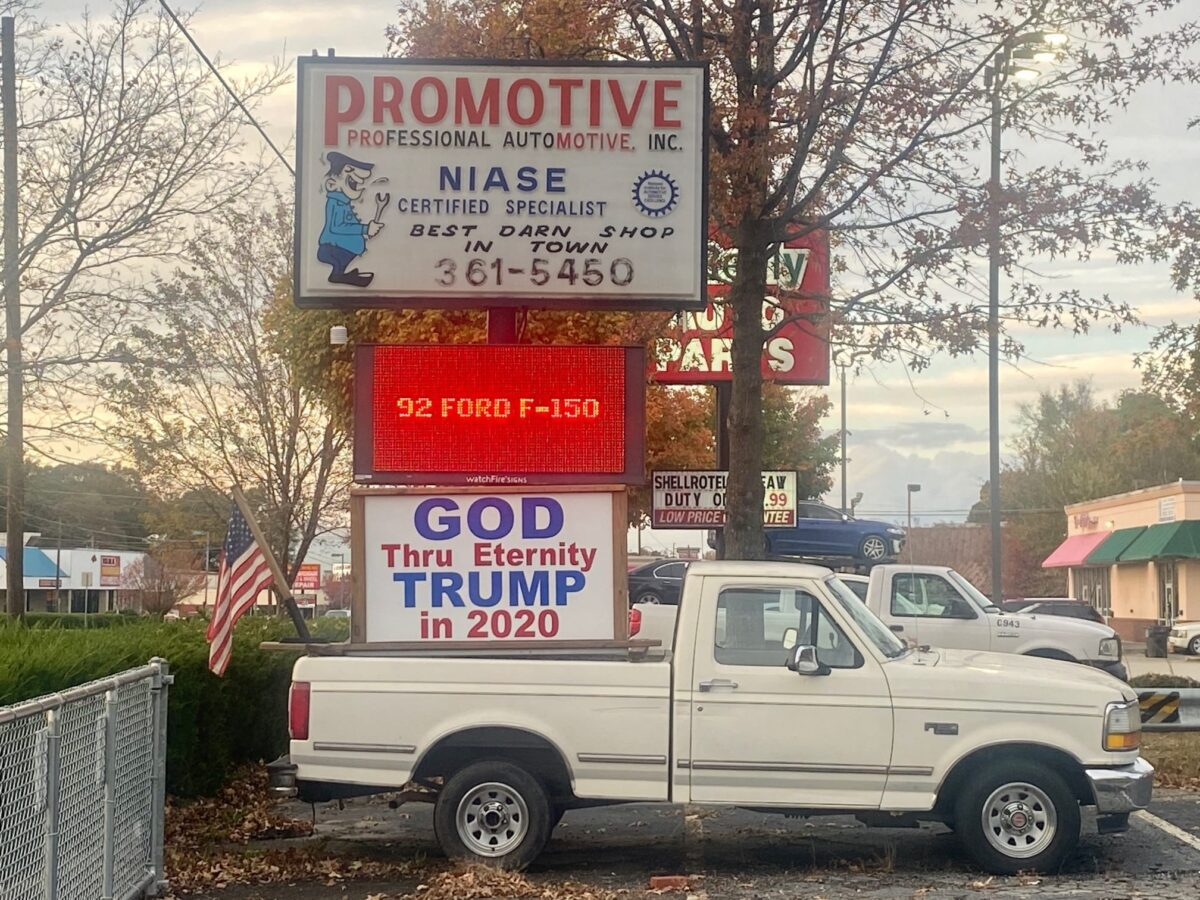 "Sign on white pickup truck reads ""God Through Eternity Trump in 2020,"" Clayton County, GA, Nov. 7, 2020. (C) Robin Kemp, claytoncrescent.org"