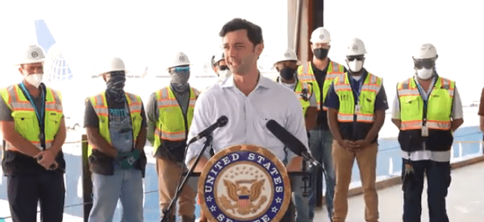 Jon Ossoff with construction workers